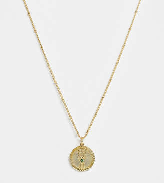 Reclaimed Vintage inspired 14k gold plate gemini star sign coin necklace