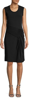 Helmut Lang Pleated Cotton-Blend Sheath Dress