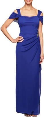 Alex Evenings Embellished Cold Shoulder Gown