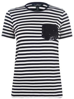 Lauren By Ralph Lauren Lauren by Ralph Lauren Sequin Pocket Short Sleeve T-Shirt