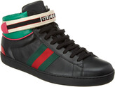 Gucci Ace High-Top Web Leather Sneaker