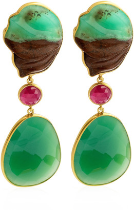 Bahina Chrysoprase, Ruby, Agathe 18K Yellow Gold Earrings