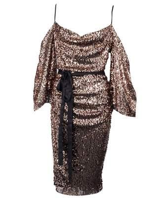 Liliana Rag And Doll Sequin Drop Shoulder Midi Dress Colour: ROSE GOLD