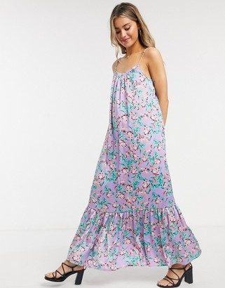ASOS DESIGN satin cami trapeze maxi dress with pep hem in lilac-based floral