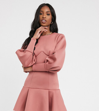 Asos Tall ASOS DESIGN Tall long sleeve seamed pep hem mini dress with open back in rose
