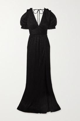 Rebecca Vallance Luna Open-back Metallic Plisse-chiffon Gown - Black