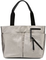Neiman Marcus Utility Zip Leather Tote Bag, Pearlized Silver/Black