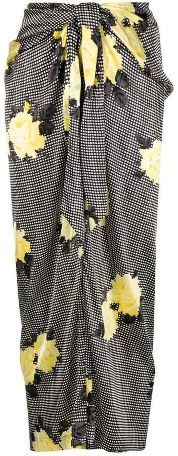 Ganni floral draped skirt