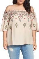 Democracy Plus Size Women's Embroidered Off The Shoulder Blouse