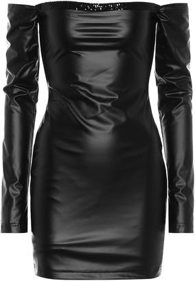 Halpern Off-shoulder faux leather minidress