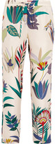 Tory Burch Adele Printed Silk-twill Tapered Pants - White