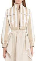 Fendi Women's Stripe Canvas Crop Jacket