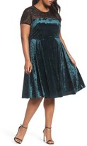 Sangria Plus Size Women's Lace Yoke Velvet Fit & Flare Dress