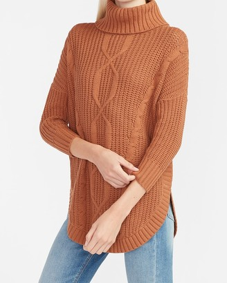 Express Cable Knit Cowl Neck Circle Hem Sweater