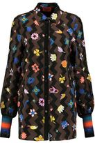 Missoni Rib-Trimmed Printed Silk-Blend Crepe Shirt