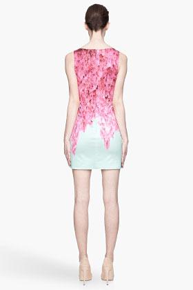 Matthew Williamson Fuchsia and mint green Weeping Blossom Mini Dress