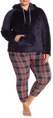YOUMITA Two Piece Hoodie Flannel Pajama Set (Plus Size)