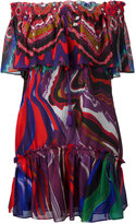 Roberto Cavalli abstract print off-shoulders dress - women - Silk - 40