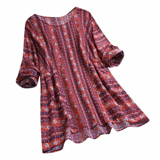 jieGorge Women Tops and Blouses Womens Casual Loose Printed Long Sleeve Pockets Plus Size Tanic Blouse Tops