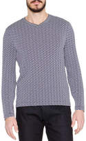 Giorgio Armani Wave-Print Long-Sleeve T-Shirt, Blue/White