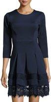 Neiman Marcus 3/4-Sleeve Round-Neck Lace-Trim Dress
