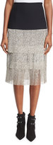 Michael Kors Layered Chain-Fringe Skirt, Black
