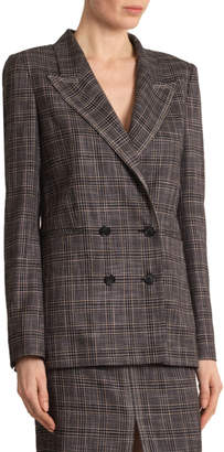 Roland Mouret Plaid Double-Breasted Open-Back Jacket