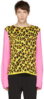 Comme des Garcons Yellow and Pink Knit Leopard Sweater