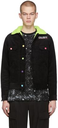 Clot Black Corduroy Fluffy Collar Jacket
