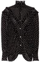 ALEXACHUNG Polka-dot ruffled blouse