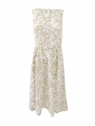 Adrianna Papell Women's 3D Lace Midi Fit and Flare Ivory/Gold 16