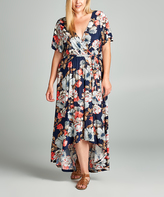 Tua Navy & Red Floral Hi-Low Maxi Dress - Plus