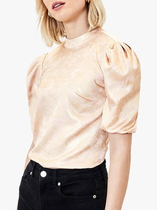 Oasis Puff Sleeve Foil Satin Top, Antique Gold