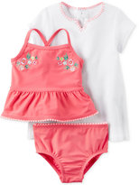 Carter's 3-Pc. Embroidered Tankini & Cover Up Set, Baby Girls (0-24 months)
