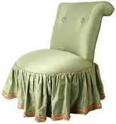 One Kings Lane Vintage 1980s Seafoam Silk Boudoir Chair - N.P.Trent Antiques - seafoam green/dusty pink