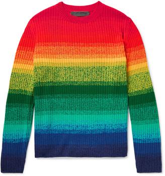The Elder Statesman Morph Ribbed Striped Cashmere Sweater