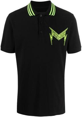 Philipp Plein Embroidered Thunder Logo Cotton Polo Shirt