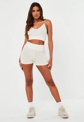 Missguided Cream Msgd Micro Shorts