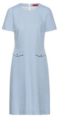 HUGO Short-sleeved dress in a patterned stretch-cotton blend