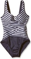 Miraclesuit Womens Escape Layered Striped One-Piece Swimsuit Navy