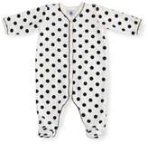 Petit Bateau Velour Polka-Dot Front Snap Footie Pajamas, Size 1-9 Months