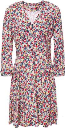 Claudie Pierlot Ruffled Printed Crepe Mini Dress