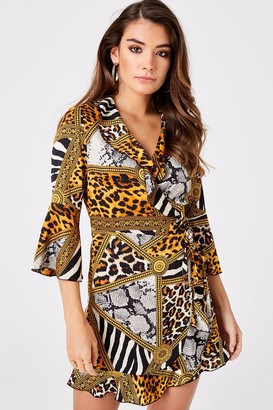 Girls On Film Outrageous Fortune Animal-Print Wrap Dress