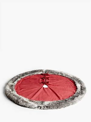 John Lewis & Partners Traditions Faux Fur Trim Tree Skirt, Red / Grey
