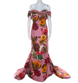 Oscar de la Renta Pink Floral Print Silk Ruched Strapless Evening Gown L