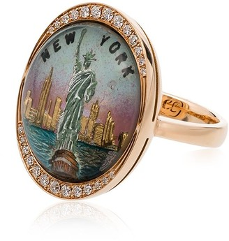 Francesca Villa yellow gold Liberty diamond embellished ring