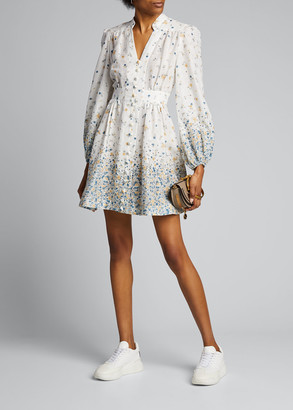 Zimmermann Carnaby Button-Front Floral Short Dress