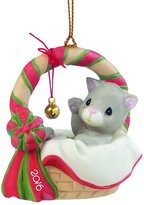 "Precious Moments 161009 Christmas Gifts, ""Meowie Christmas"", Dated 2016, Bisque Porcelain Ornament"
