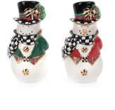 Mackenzie Childs Top Hat Snowman Salt & Pepper Shakers