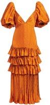 Johanna Ortiz Puff-Sleeve Tiered Ruffle Midi Dress